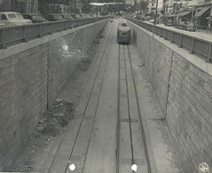 A streetcar exiting the Dupont Circle underpass