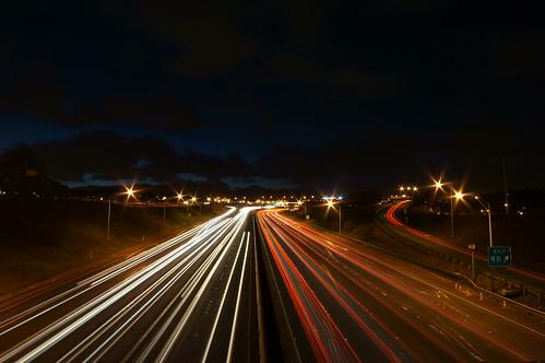 H1 H2 merge freeway traffic light trails | by be808