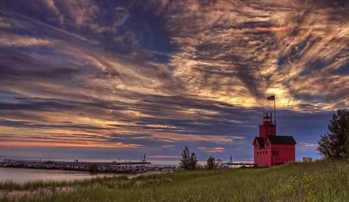 blue sunset red sky lighthouse lake holland green beach water grass clouds evening big kevin michigan 2011 llmsmiholland povenz