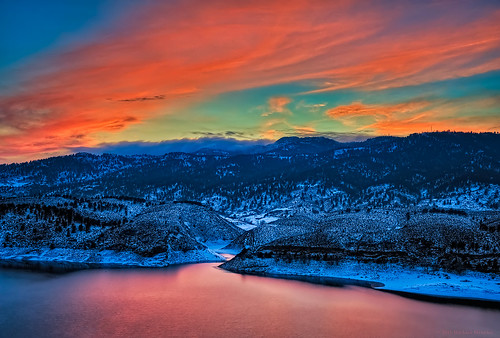 pink winter sunset orange lake snow reflection nature water last landscape cool nikon colorado warm december glow cove fortcollins reservoir co hdr horsetooth 2012 larimer horsetoothreservoir photomatix clff d700 12312012