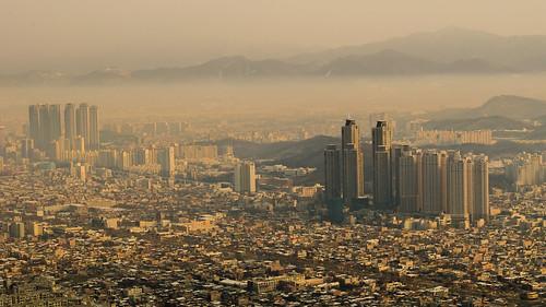 city winter orange mountain beautiful landscape golden smog day outdoor korea southkorea daegu apsan d5100