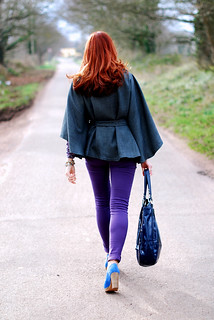 Charcoal cape and purple skinnies | by Not Dressed As Lamb