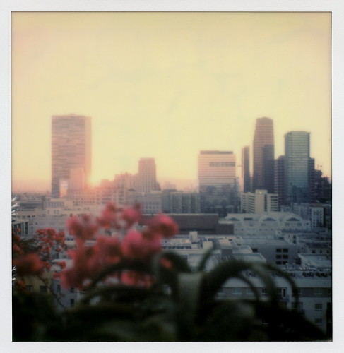 the impossible project tip polaroid sx70sonar sonar instant color film for sx70 type cameras impossaroid upstairs sunset ace hotel broadway dtla downtown los angeles la california ca bar cityscape skyline skyscraper highrise sun bougainvillea dtlapolawalj2 polawalk 071616 toby hancock photography