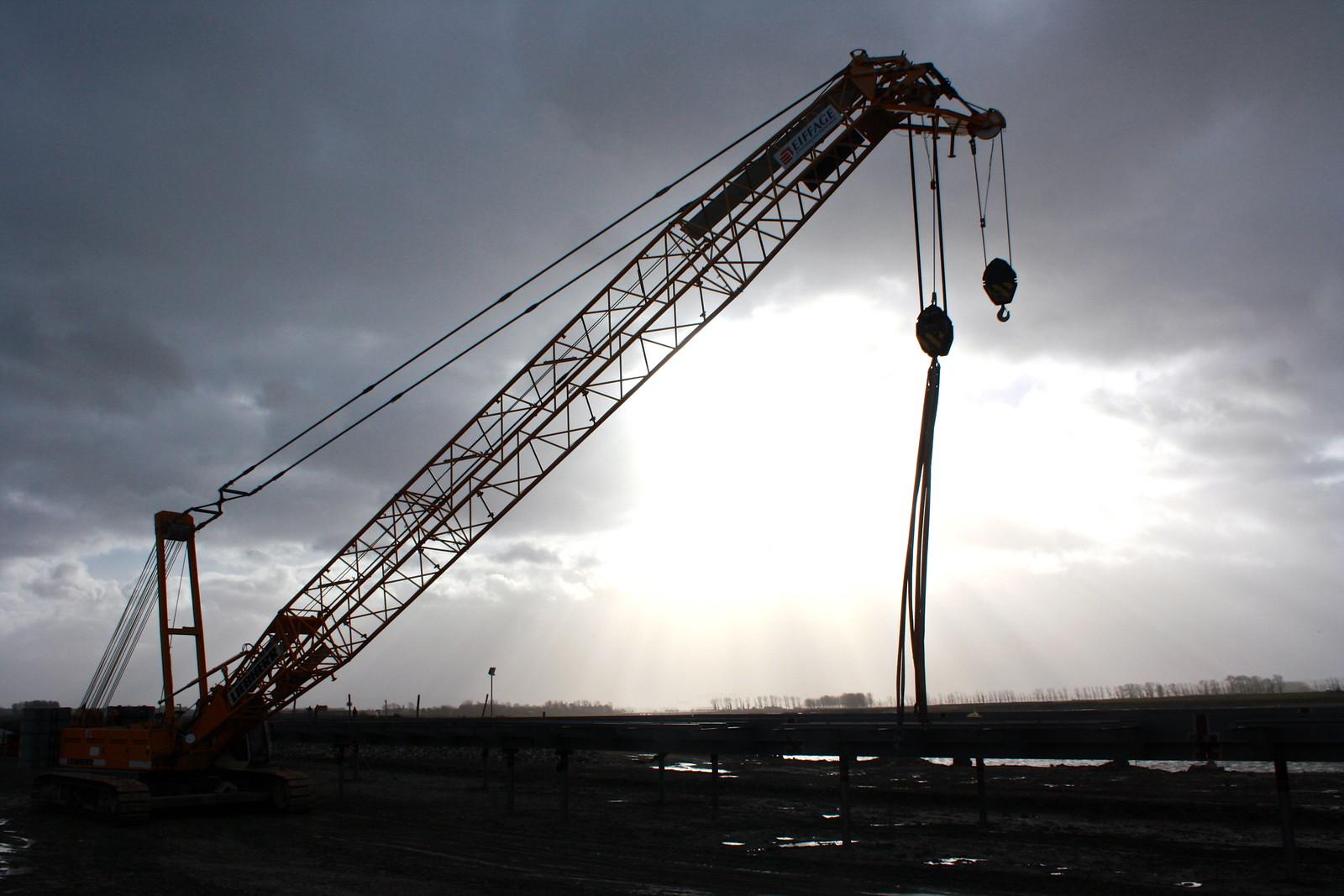 Construction crane, Mont-Saint-Michel, France