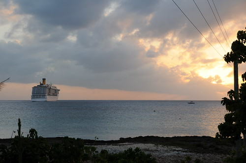 ocean cruise water island day ship cloudy grand cayman