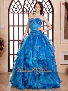 Aqua Blue Embroidery Biduce and Ruffles For Quinceanera Dr ...