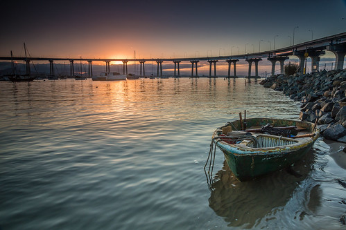 bridge seascape beach sunrise landscape boat sandiego socal southerncalifornia coronado coronadobaybridge tidelandspark