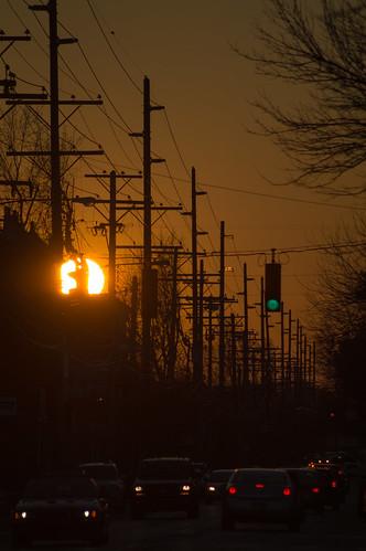 street sunset sun cars nikon ky headlights louisville stoplight avenue frankfort d3200