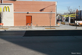 City-installed bike parking and business-installed bike parking | by Steven Vance