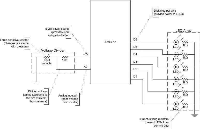 FSR LED Array | Circuit diagram for the circuit shown here