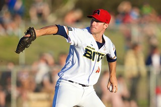 Max MacNabb pitches for the Adelaide Bite