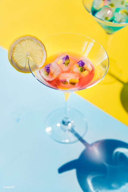 Closeup of decorated cocktail summer drink