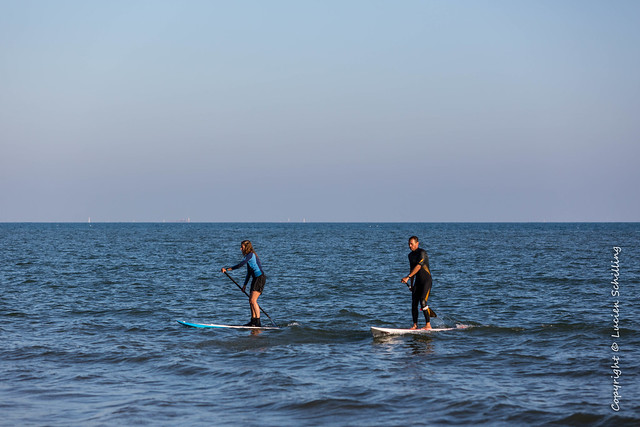 Rowing on the surfboard