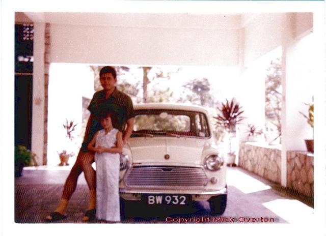 My 1st photo taken age 9 - 1969 Austin Mini 850 BW932 - a ckd kit assembled in Malaysia