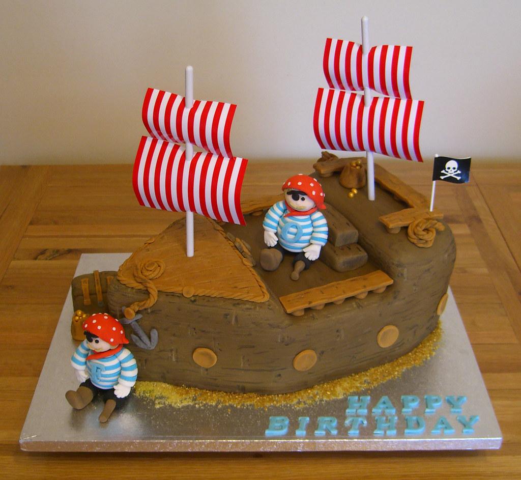 Excellent Pirate Ship Birthday Cake Pirate Ship Themed Birthday Cake Flickr Personalised Birthday Cards Bromeletsinfo