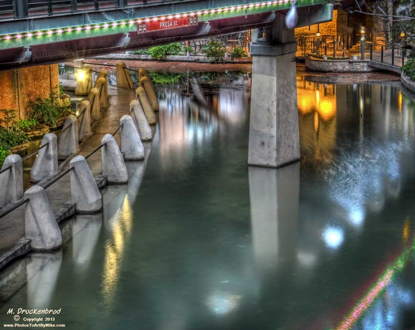 San Antonio River Walk under the Presa Street bridge