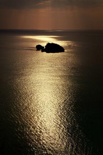 ocean sunset sea gold okinawa