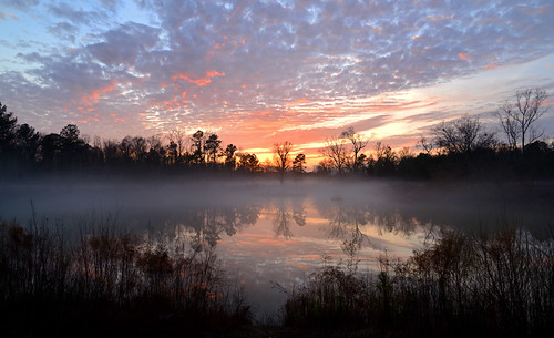 sunset fog clouds nc pond colorful day january foggy northcarolina kinston d600