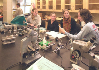 Students in Professor Jonathan Wright's Animal Physiology class working in the teaching laboratory in the newly built Richard C. Seaver Biology Building, which was dedicated in 2005