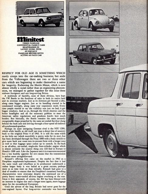 NSU 1200 - Renault 1100 - Triumph Helard 13/60 & Volkswagen Beetle 1302 S Group Road Test 1969 (1)