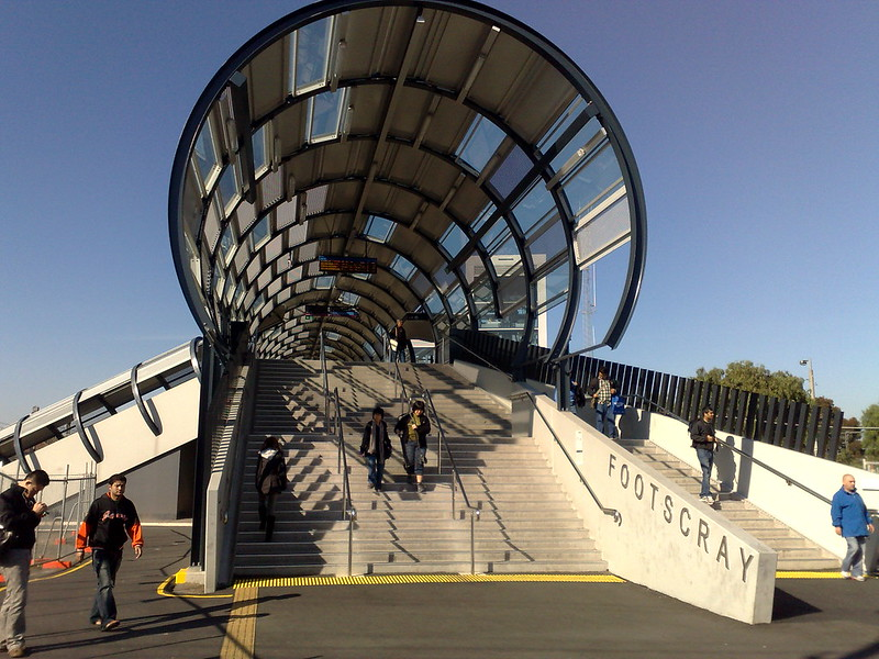 Footscray railway station footbridge in May 2010