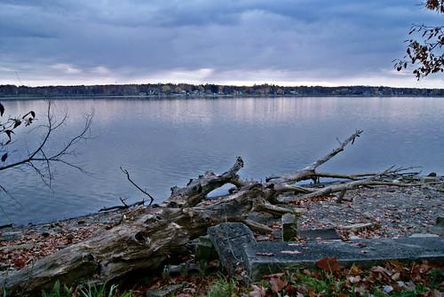 wood blue sunset ohio usa lake skye water clouds logs landskape lakemilton sonya230 carlrhodes
