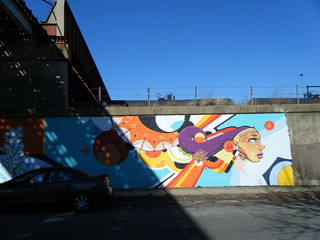 Colourful shapes and head mural | by Preetha & James