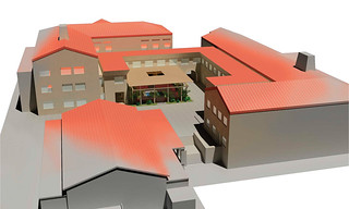 A 2006 architect's rendering of the Turrell Skyspace and the surrounding Lincoln Hall and Edmunds Hall