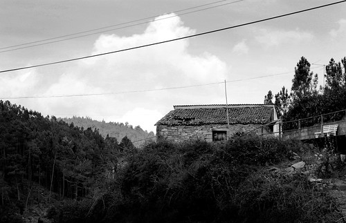 sky white house black tree portugal nature stone forest bench landscape photography photo exterior cable alvares