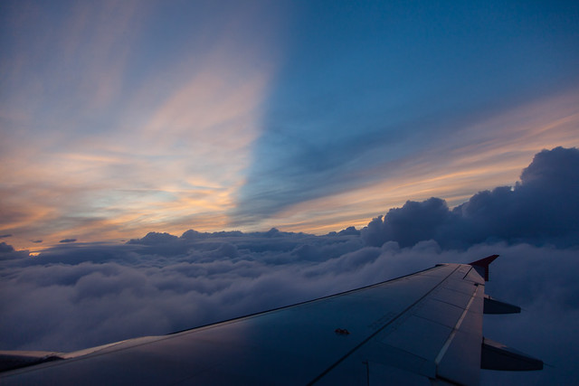 Sunset view from the airplane