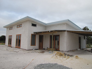House with Carport and Porch - Strawbale House Build in Redmond Western Australia | by Red Moon Sanctuary