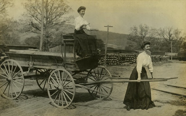 A Woman Pulling Herself on a Wagon