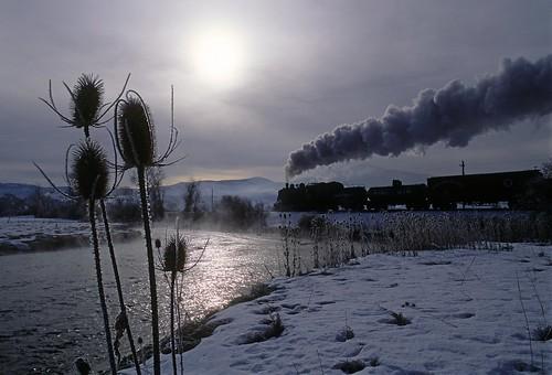 railroad snow up silhouette train sunrise utah ut heber steam charleston teasel unionpacific thistles 280 steamlocomotive hebervalleyrailroad snakecreek gloomyskies steamingwater freeighttrain extraphotofreight
