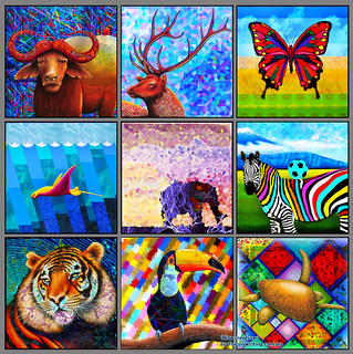 Nine Colourful Creatures   by Cliff Howard Artist