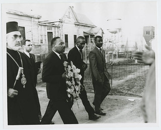 Alabama civil rights movement: Selma to Montgomery march: Iakovos, Archbishop of the Greek Orthodox Archdiocese of North and South America with Martin Luther King, Jr. (Monday, March 15, 1965)   by Penn State Special Collections Library