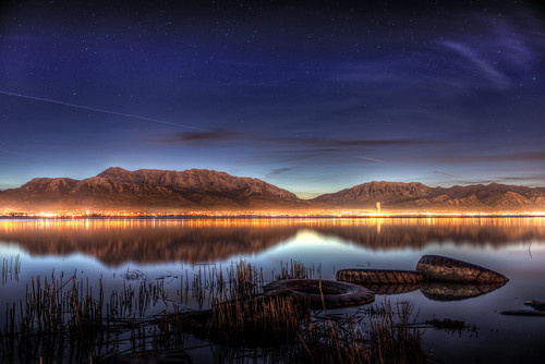 light sky lake snow mountains reflection reed water clouds sunrise reeds stars landscape lights daylight utah nikon smoke low jet saratogasprings tires trail rockymountains shallow coming nikkor capped tops hdr provo approaching orem lindon eaglemountain 2470mm d600 utahcounty
