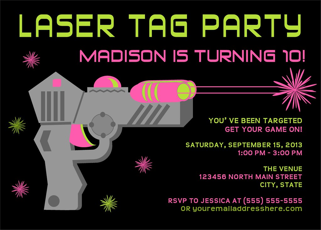 picture relating to Printable Laser Tag Birthday Invitations referred to as Printable Laser Tag Birthday Social gathering Invitation I consist of a great number of