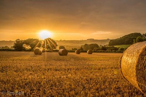 derbyshire sunrise haybales pentaxart sunburst starburst jimbell golden light