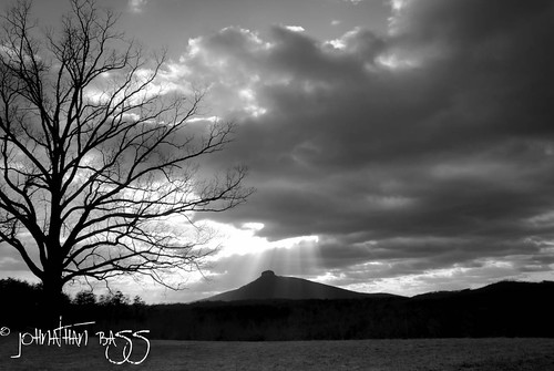 sunset blackandwhite sun tree field clouds landscape oak nikon cloudy north carolina rays pilotmountain d80