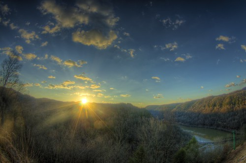 new blue winter sky usa sunrise river scenery wv vista hdr newriver anstead hdrextremes pentaxk5iis