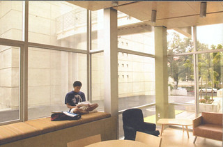 A student studying in the Student Lounge in the newly built Richard C. Seaver Biology Building dedicated in 2005