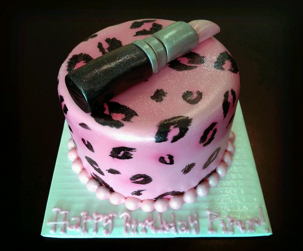 Sensational Pink Cheetah Print And Lipstick Birthday Cake Please Allow Flickr Personalised Birthday Cards Vishlily Jamesorg