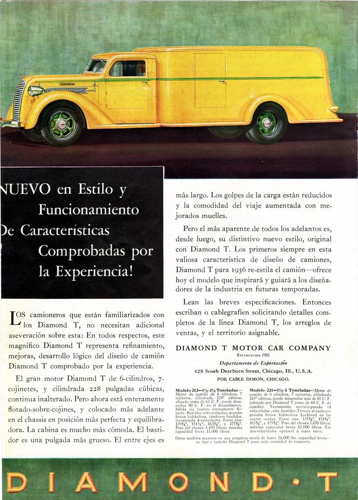 1936 Diamond T Truck with Van Body, Export Ad   Alden Jewell