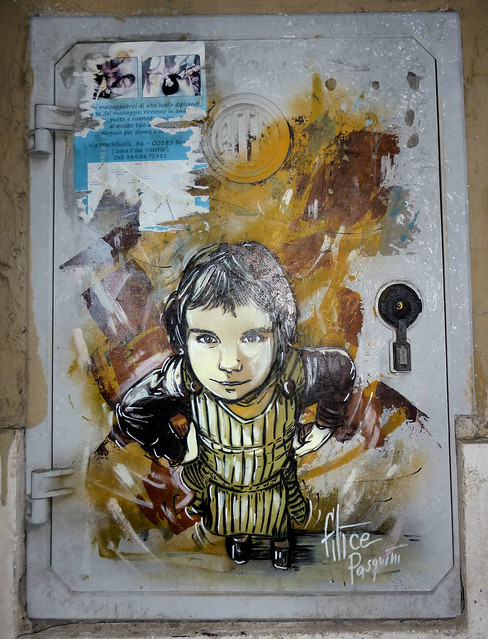 Roma. Monti. Street art by Alicè, Alice Pasquini