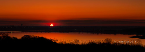 panorama orange sun lake reflection rural sunrise dawn twilight earlymorning serene lowclouds sceniccitylights