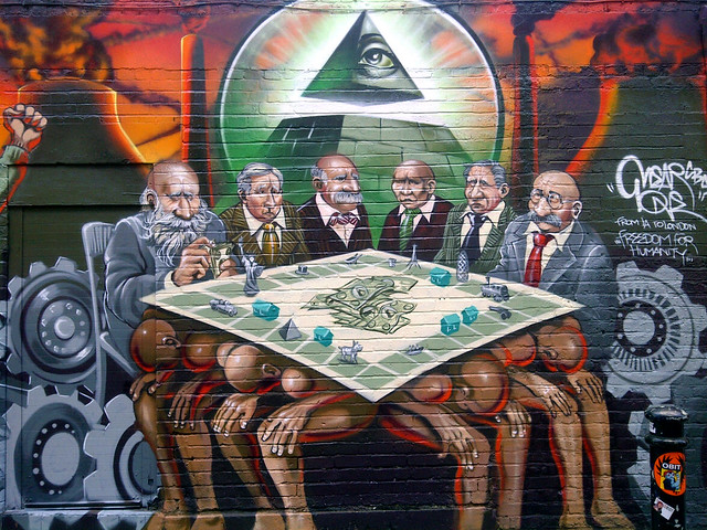 "@mearone ""The New World Order is the Enemy of Humanity"" artwork on Hanbury Street, Brick Lane #London #StreetArt"