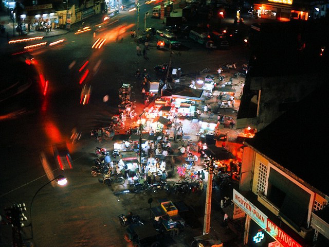 Saigon 1967 - A picture out my hotel window, taken just a few minutes before curfew . . .