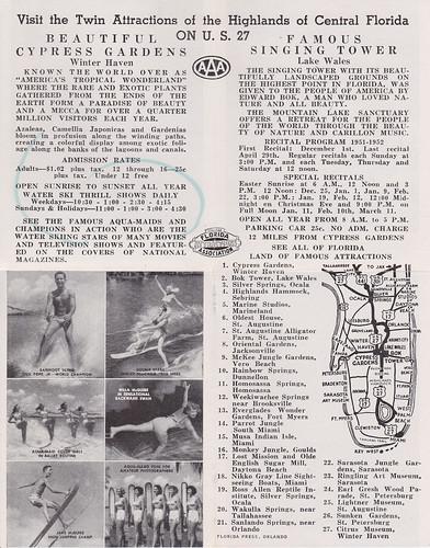 florida sightseeing tourist 1950s waterskiing brochure cypressgardens 1952 winterhaven lakewales singingtower