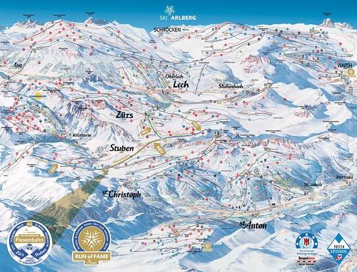 Arlberg - mapa sjezdovek
