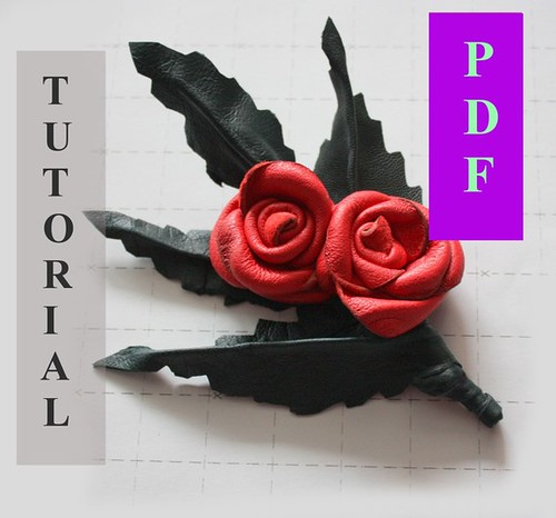 PDF Tutorial Leather Rose Pin / Brooch / instruction / gui ...